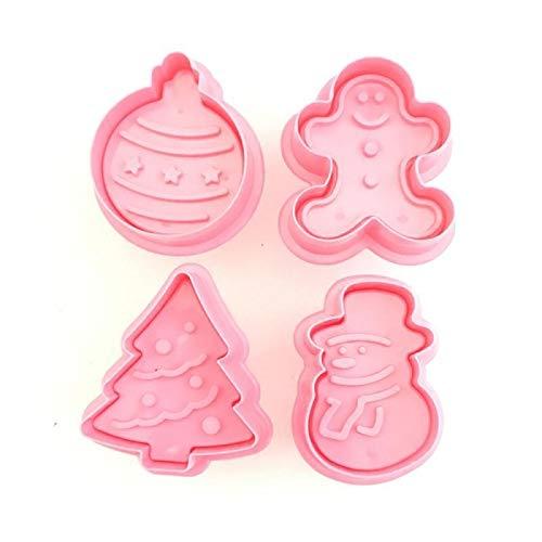 4Pcs Plätzchen Stamp Biscuit DIY Mold Weihnachten 3D-Plätzchen-Kuchen Plunger Cutter-Backen-Form-Fondant-Kuchen, der Werkzeuge xialinr (Color : Red-100PCS)