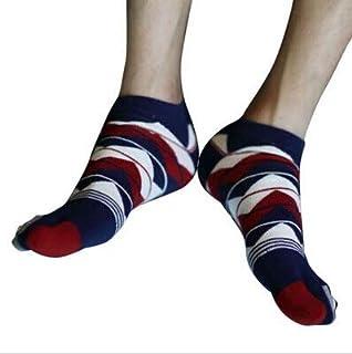 BEESCLOVER Striped Wave Men Five Finger Sock Cotton Socks Crew for Male Sox Five Finger Toe Socks