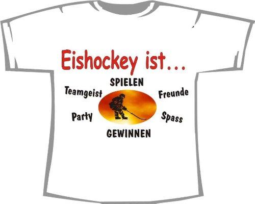 Eishockey ist: Spielen, gewinnen, Freunde, Spaß, Teamgeist, Party, Kinder T-Shirt weiß, Gr. 1-2