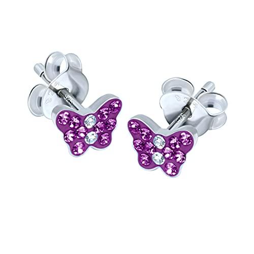 FIVE-D Pendientes infantiles de mariposa pequeña de plata de ley 925 en estuche de joyería (rosa de 5 x 5 mm)