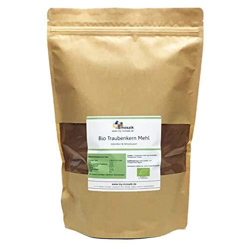 my-mosaik Bio Traubenkernmehl in Rohkostqualität - OPC-Mehl - für gesundes Backen, Superfood, Low Carb, vegan, ohne Zusätze, naturrein, glutenfrei (1000)