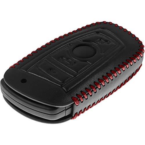 PhoneNatic Echtleder Stitched Schlüssel Hülle kompatibel mit der BMW X3 F25, X5 F15 und X6 F16 4-Tasten Fernbedienung in schwarz Funkschlüssel 4-Key