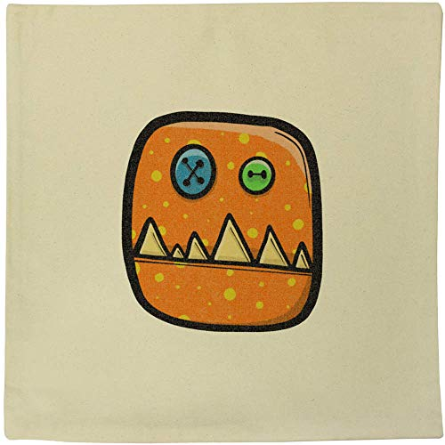 Azeeda 'Orange Monster Head' Canvas Cushion Cover (CV00018398)