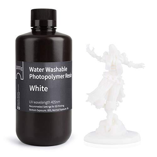 ELEGOO Stampante 3D lavabile in acqua Resina rapida LCD Resina fotopolimerizzante UV 405nm Resina fotopolimerica standard per stampa 3D LCD 1000Gram Bianca