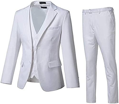 High-End Suits 3 Pieces Men Suit Set Slim Fit Groomsmen/Prom Suit for Men Two Buttons Business Casual Suit, White, Chest44''/Waist38'', X-Large