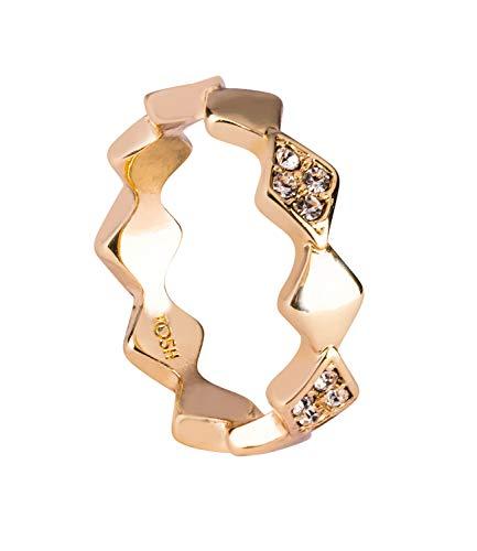 TOSH Auffälliger goldfarbener Ring in Rautenform, mit weissen Strass-Steinen verziert, Größe: S / 53/16,9 (365-963)