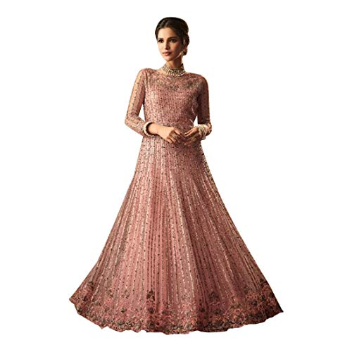 Pinkkart Licht Roze Ontwerper Net Geborduurde Anarkali Pak Lange Vrouwen Maxi Jurk Traditionele Bollywood Bruiloft 8843
