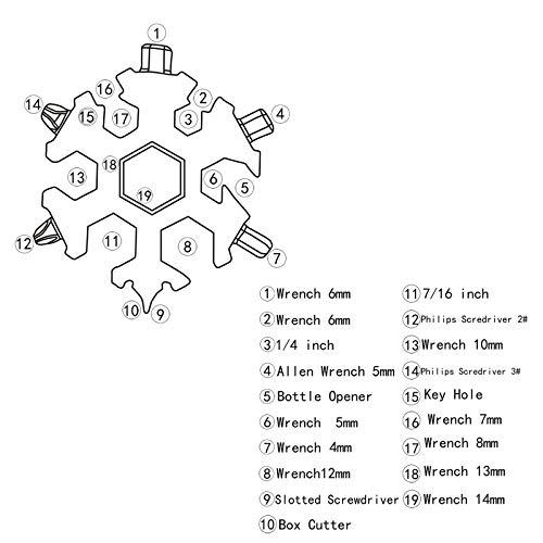 18 in 1 Snowflake Multitool, Stainless Steel Snowflake Multi-Tool Snowflake Tool Card Compact Snowflake Tool Snowflake Keychain Snowflake Bottle Opener (Grey)