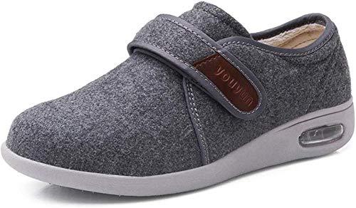 B/H Zapatos para DiabéTicos Zapatillas,Otoño e Invierno Zapatos de Mediana Edad y Ancianos, Zapatos de Hombre cálidos con Velcro.-Gris_50,Zapatilla DiabéTica Sin Cordones para Mujer