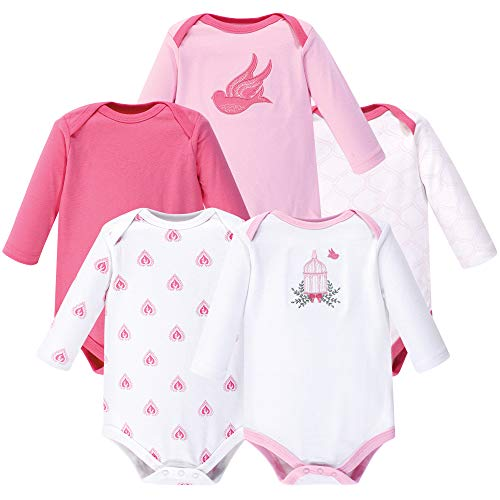 Hudson Baby Unisex Baby Cotton Long-sleeve Bodysuits, Bird Cage, 0-3 Months US