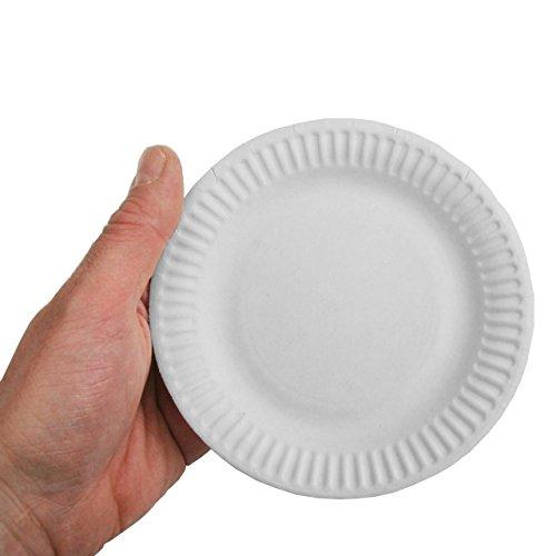 Papstar 11171 - Platos de cartón (100 unidades, 100% fibra fresca, redondos, diámetro 15 cm), color blanco