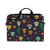JOKERR Laptop Case Bag Halloween Sugar Skull Flower 14 inch to 14.5 inch Briefcase Messenger Computer Sleeve Tablet Bag with Shoulder Strap Handle for Boys Girls