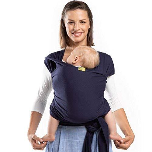 Boba Baby Wrap, Navy Blue - das elastische Tragetuch aus weichem Sommersweat, sehr einfach zu binden, ideal für Neugeborene und Kleinkinder bis 16kg