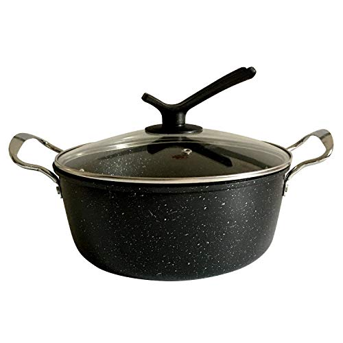 ANFOOS Soup Pot Nonstick Granite Pasta Stock Pot Iron 4 Quart Small Cooking Pots with Lid Compatible Induction Cookware