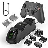 Zacro Base de Carga del Controlador, Cargador de Pantalla LED Compatible con Mando Xbox One/Xbox One Elite/Xbox Series X/Xbox Series S, con 2 Baterías Recargables