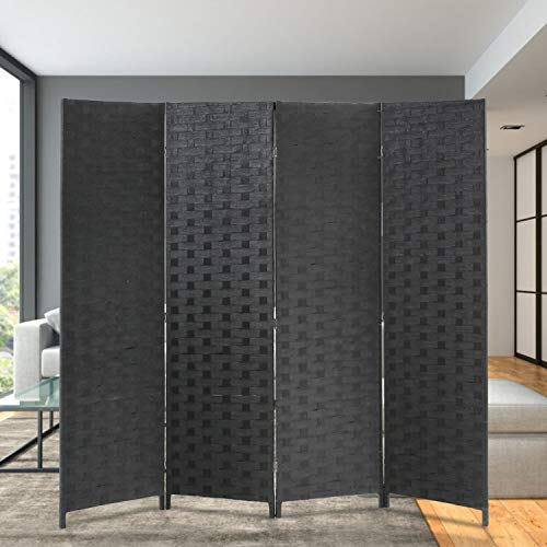 Cheapest Prices! FDW Room Divider Wood Screen 4 Panel Wood Mesh Woven Design Room Screen Divider Fol...