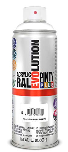 PINTYPLUS EVOLUTION 590 Pintura Spray Acrílica Brillo 520cc Pure White, Blanco Ral 9010, Estándar