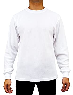 Access Men's Heavyweight Long Sleeve Thermal Crew Neck Top White Large