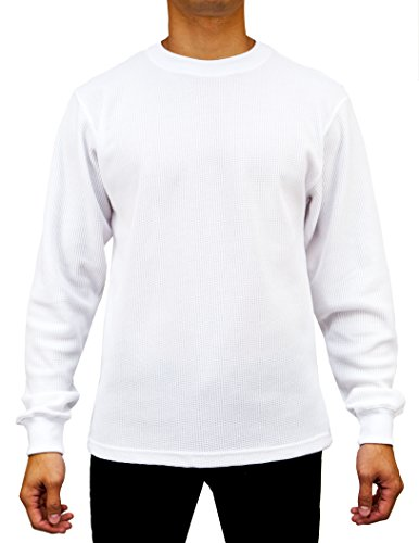 Access Men's Heavyweight Long Sleeve Thermal Crew Neck Top White 2X