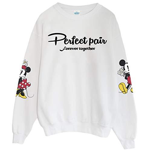 Popgear Hombre Disney Mickey and Minnie Perfect Pair Forever Together Sudadera con cuello redondo Blanco, L