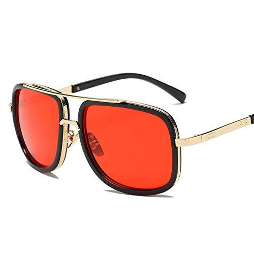 ZYIZEE Gafas de Sol Gafas de Sol Gafas de Sol clásicas con Espejo Superior Plano Gafas de Sol cuadradas de Oro para Hombre y Mujer Gafas de Sol de Gran tamaño para Hombre y Mujer