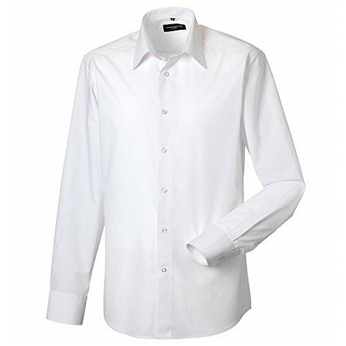 Russell Collection manches longues en coton Poly Easy Care Aménagé - White - L