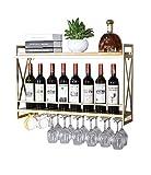 POETRY Botelleros de Metal Soporte de Pared para Vino |Botellero de Madera Vintage |Estante Organizador de Almacenamiento con Estante de Pared |Estante para Vino Colgante (Dorado) (Tamaño: 100 v