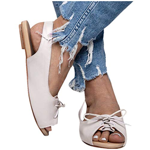 Übergroßer Sandalen für Damen/Dorical Frauen Sommer Retro-Peep-Toe-Sandalen mit seitlicher Abdeckung Damenschuhe Mode einfache PU-Leder Schuhe rutschfest 35-43 EU Ausverkauf (38 EU, Z15-Weiß)