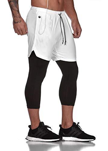UMIPUBO Pantalones Cortos Hombre Deporte Chándal Deportivos 2 en 1 Pantalones Cortos Compresión Interna con Bolsillo Incorporado y Bolsillo Transpiración de Secado Rápido Shorts Pants