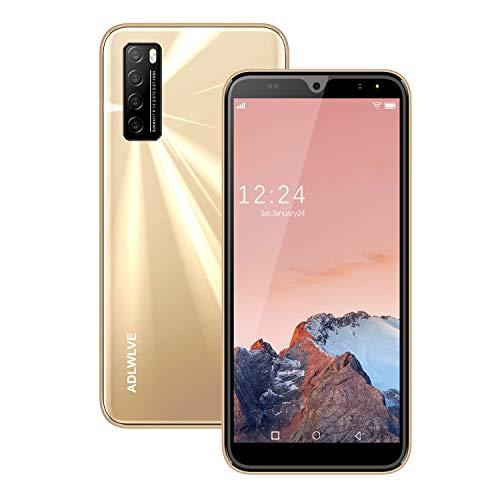 Moviles Libres Baratos 4G,6.3Pulgadas 3GB RAM 32GB ROM / 64GB Smartphone Libre Android 9.0 Face ID teléfonos móviles gratuitos, 8MP 4600mAh,Dual SIM Quad Core Moviles Buenos (Oro)