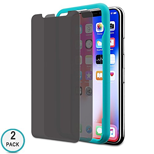 iPhone X Privacy Screen Protector, Tempered Glass Screen Protector for Apple iPhone, 3D-Touch Compatible, 9H Hardness HD Clear Anti-Glare/Spy/Scratch/Fingerprint/Bubble, Easy Install (2 Pack)