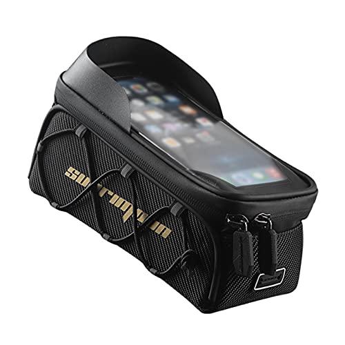 Bolsas para marco frontal de bicicleta, bolsa impermeable para teléfono de bicicleta, pantalla táctil sensible, gran capacidad, se adapta a la bolsa del tubo superior de la bicicleta.