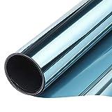 TTMOW Vinilo Pet Película Adhesiva Lámina de Espejo para Ventanas Cristal Unidireccional Protector de Privacidad Anti 99% UV y Anti 85% IR para Hogar y Oficina (Azul y Plata, 60 * 200cm)