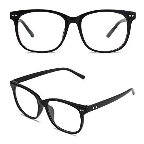 GQUEEN Hornbrille Brille Ohne Stärke Fake Brille Nerdbrille Damen Herren UV400 Matt Schwarz,PE1