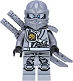 LEGO Ninjago Minifigur Titanium Zane (Grauer/silberner Ninja) mit silbernen Waffen - Wettkampf der Elemente