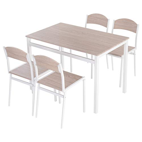 Table de salle à manger avec 4 chaises style contemporain acier blanc MDF coloris bois de chêne