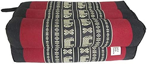 Thai Kapok Yoga Pillow - Small Rectangle Bolster Pillow - Exercise Massage Extra Firm Block - Meditation Sitting Cushion (Elephant Cranberry)