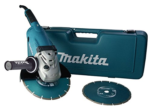 Makita haakse slijper 230 mm, GA9020RF extra 2 x diamantschijf en superflens in transportkoffer. im Koffer mit 2 Diamantscheiben