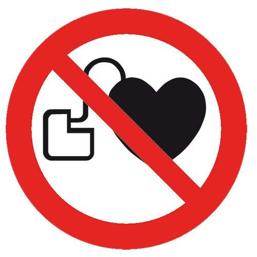 Verbotszeichen Verbot für Personen mit Herzschrittmacher Sicherheitsschild Verbotsschild 200mm aus Nicht Selbstklebendem PVC Betriebsausstattung