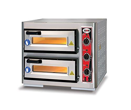 GMG Profi Pizzaofen CLASSIC PF 4040 DE3 für Gastronomie, 2 Backkammern/Doppelkammer dual - 1+ 1 x Ø 39 cm Pizzen - 40x40x10cm, bis zu 450°C, 6000 Watt
