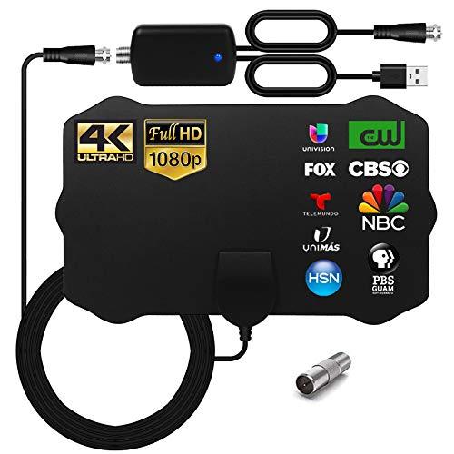 WEWAK Antena HDTV interior, Antena TV Digital Rango de 120 Millas con Amplificador de Señal para 4K 1080p VHF UHF TDT DVB-T/DVB-T 2 Canales Gratis