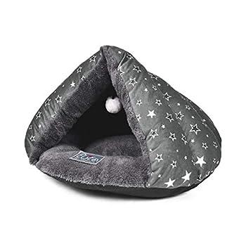 PETCUTE Maison pour Chat Chiot lit pour Chien Sac de Couchage d'animaux Chaud Nid d'hiver Grotte Chat Lavable