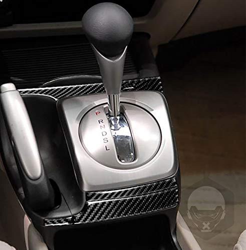 Para Civic 8ª generación 2006-2011 kit engranajes cabeza panel marco caja de engranajes envolvente tira cubierta interior negro modificado fibra carbono ajuste automatice cambio accesorios (LHD)