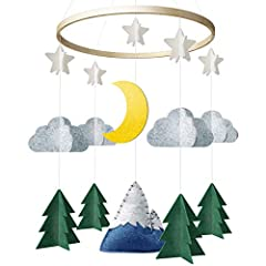 ♡ Bring the Outdoors inside with this Serene Mountain and Woodland Themed Mobile! Evergreen trees, clouds, stars, moon and a snow capped mountain come together to make this woodland dream complete! ♡ BABIES PERSPECTIVE: Our Unique 3D Baby Mobile is d...
