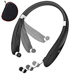 top rated Folding Bluetooth Neckband Headphones Wireless Headset Retractable Headphones Stereo Noise HD… 2021