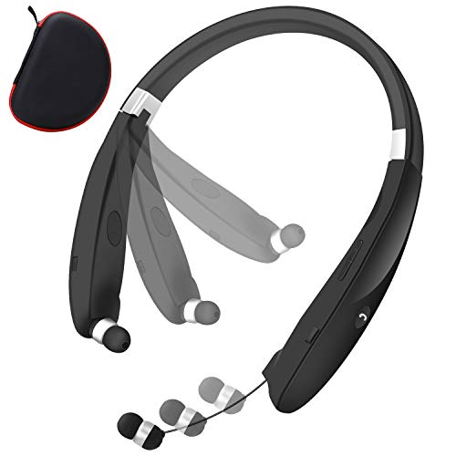 Bluetooth Foldable Headphones Neckband Wireless Headset Retractable Earbuds HD Stereo Noise Cancelling Earphones with Mic by CaYoumi (Call Vibrate Alert, 12 Hours Talktime, Black)