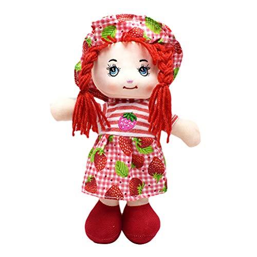 Macabolo Cartoon Kawaii Obstrock Hut Flickenpuppe 25 cm weich süß Baby gefüllt Puppen Plüsch Spielzeug Kinder Mädchen Geburtstag Geschenk, rot, 25 cm
