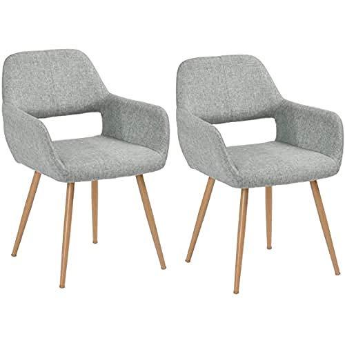 2er Set Esszimmerstuhl Sessel aus Stoff Küchenstuhl Wohnzimmerstuhl Schreibtischstuhl Metallbeine