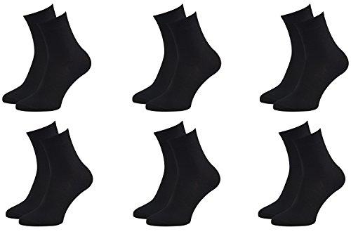 Rainbow Socks - Femme Homme Chausettes Midi en Bambou - 6 Paire - Noir - Taille 39-41
