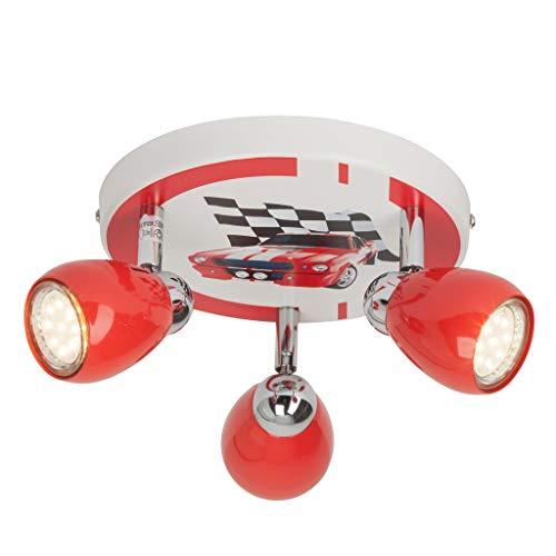 Brilliant Racing LED Spotrondell 3 flg Deckenstrahler schwenkbar rot/weiß-schwarz Kinderzimmer 750 Lumen, 3x GU10 3W LED-Reflektorlampen inklusive